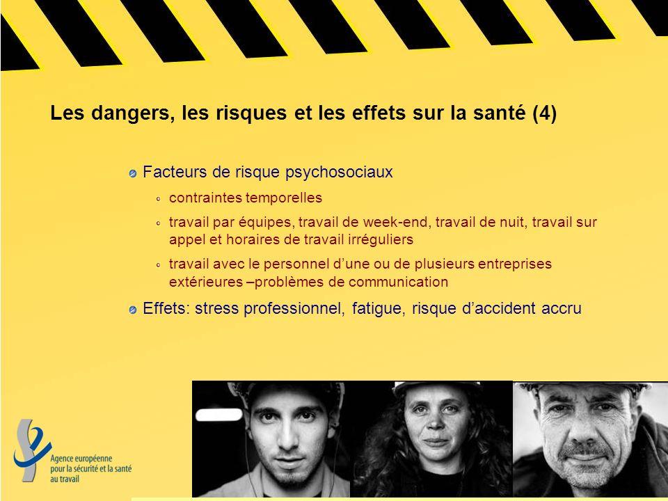 Les dangers, les risques et les effets sur la santé (5) Risque élevé de tous les types daccidents nombreux accidents liés à léquipement de travail et à la maintenance des machines, p.