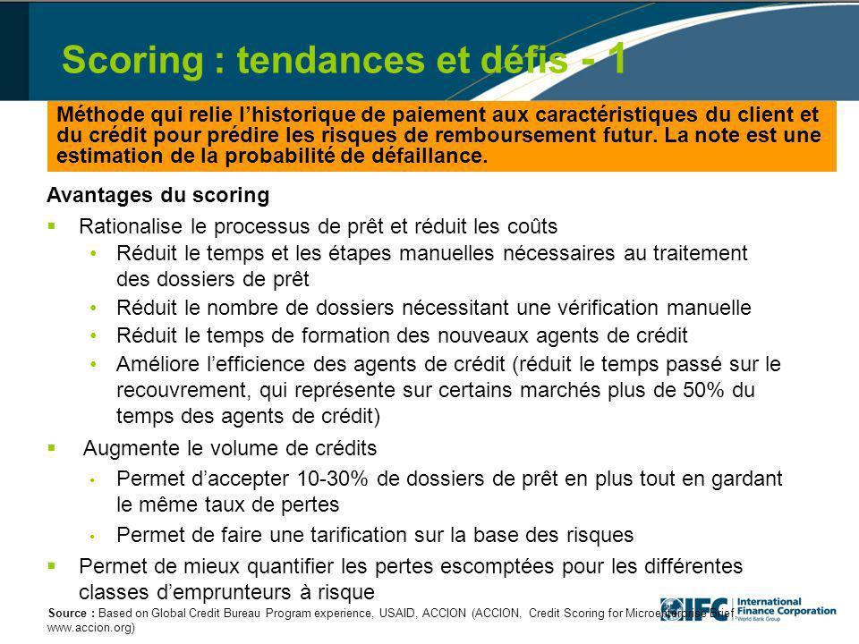 Scoring : tendances et défis - 1 Méthode qui relie lhistorique de paiement aux caractéristiques du client et du crédit pour prédire les risques de remboursement futur.