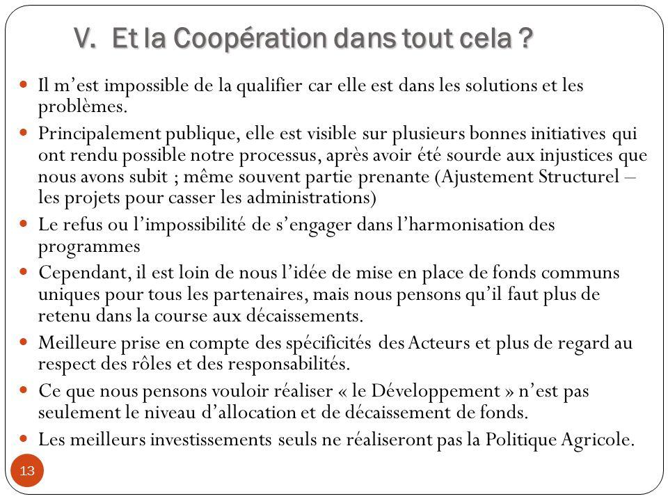 V. Et la Coopération dans tout cela ? 13 Il mest impossible de la qualifier car elle est dans les solutions et les problèmes. Principalement publique,