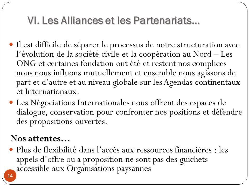 VI. Les Alliances et les Partenariats… 14 Il est difficile de séparer le processus de notre structuration avec lévolution de la société civile et la c