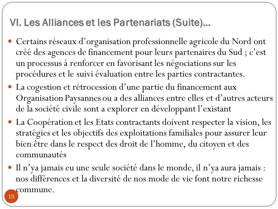 VI. Les Alliances et les Partenariats (Suite)… 15 Certains réseaux dorganisation professionnelle agricole du Nord ont créé des agences de financement