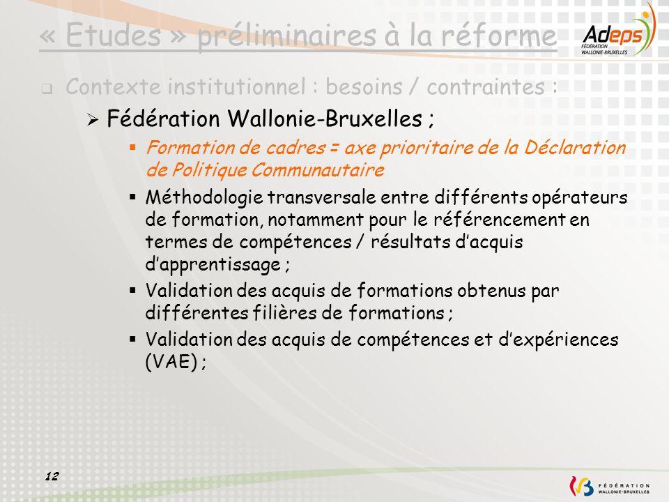 12 « Etudes » préliminaires à la réforme Contexte institutionnel : besoins / contraintes : Fédération Wallonie-Bruxelles ; Formation de cadres = axe p
