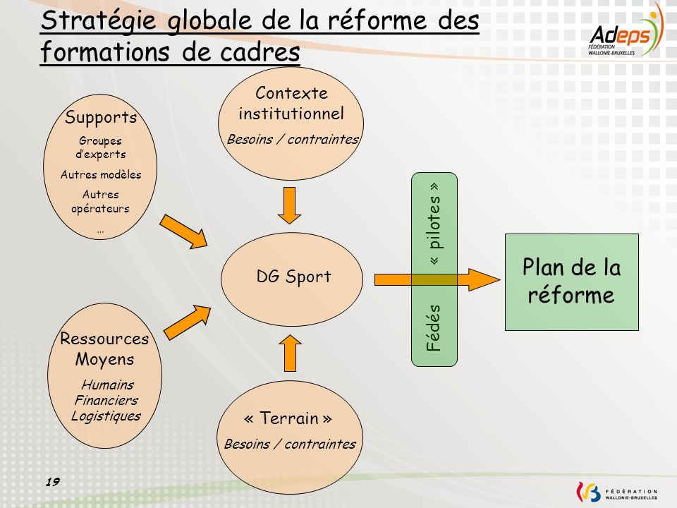 19 Stratégie globale de la réforme des formations de cadres DG Sport Plan de la réforme Fédés « pilotes » Contexte institutionnel Besoins / contrainte