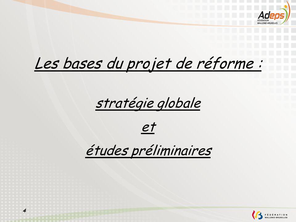 4 Les bases du projet de réforme : stratégie globale et études préliminaires