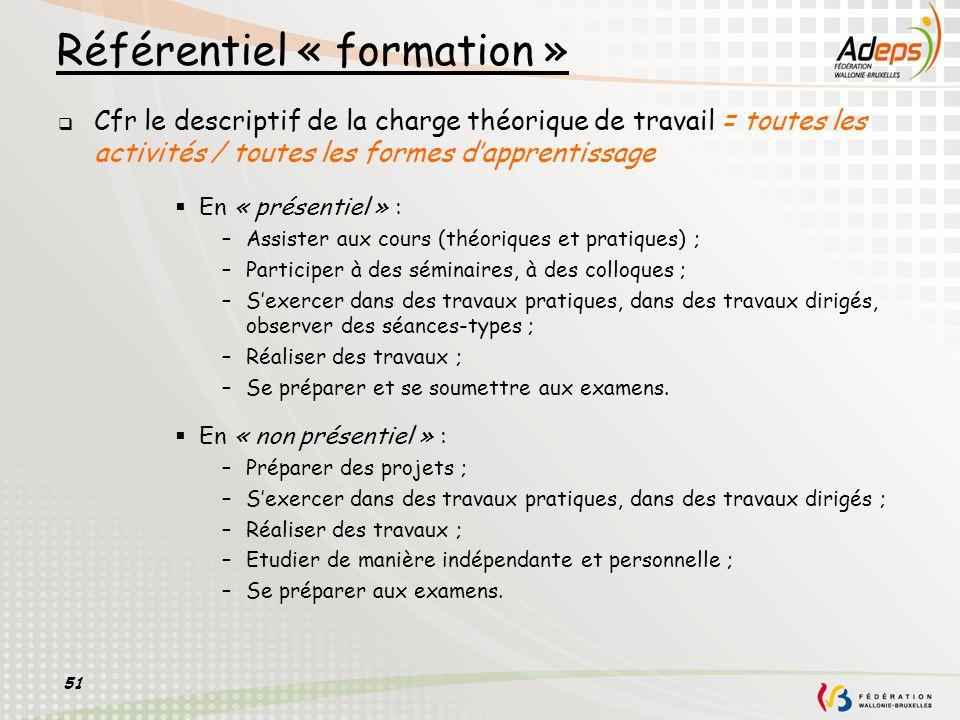 51 Référentiel « formation » Cfr le descriptif de la charge théorique de travail = toutes les activités / toutes les formes dapprentissage En « présen