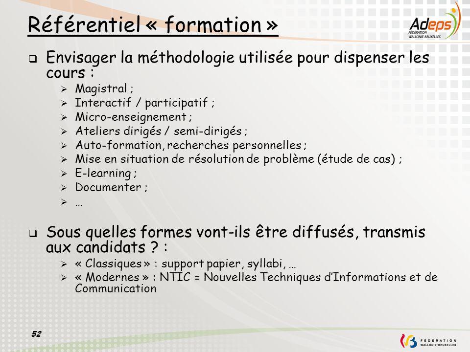52 Référentiel « formation » Envisager la méthodologie utilisée pour dispenser les cours : Magistral ; Interactif / participatif ; Micro-enseignement
