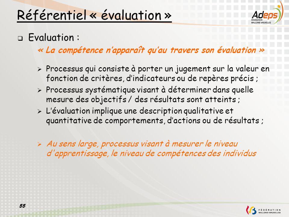 55 Référentiel « évaluation » Evaluation : « La compétence napparaît quau travers son évaluation » Processus qui consiste à porter un jugement sur la