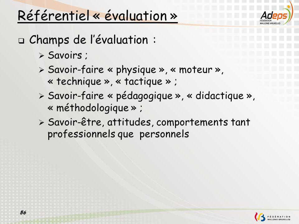 56 Référentiel « évaluation » Champs de lévaluation : Savoirs ; Savoir-faire « physique », « moteur », « technique », « tactique » ; Savoir-faire « pé