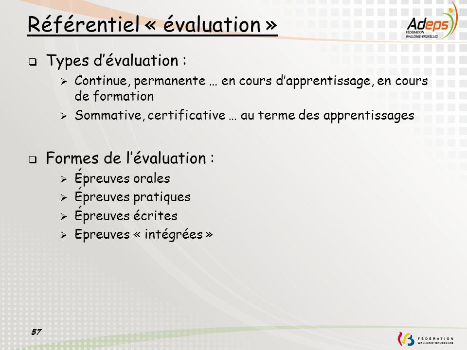 57 Référentiel « évaluation » Types dévaluation : Continue, permanente … en cours dapprentissage, en cours de formation Sommative, certificative … au