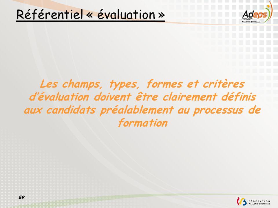 59 Les champs, types, formes et critères dévaluation doivent être clairement définis aux candidats préalablement au processus de formation Référentiel