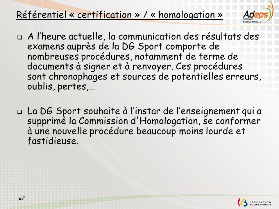 67 A lheure actuelle, la communication des résultats des examens auprès de la DG Sport comporte de nombreuses procédures, notamment de terme de docume