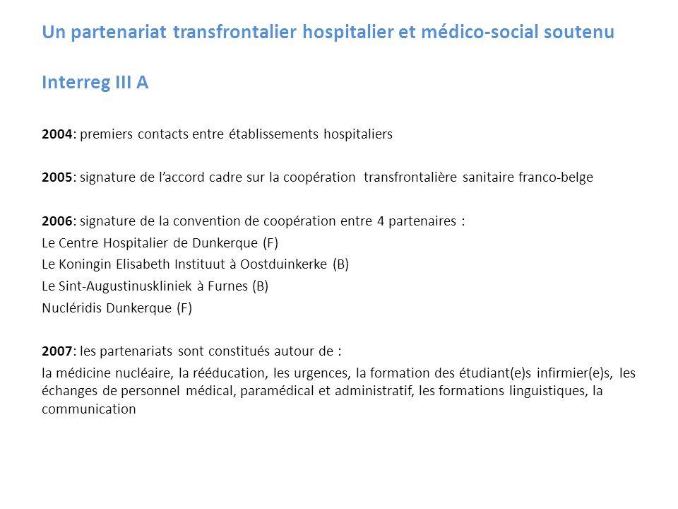Un partenariat transfrontalier hospitalier et médico-social soutenu Interreg III A 2004: premiers contacts entre établissements hospitaliers 2005: sig