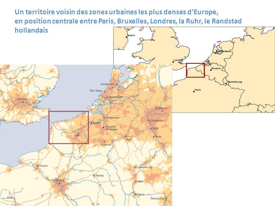 Un territoire voisin des zones urbaines les plus denses dEurope, en position centrale entre Paris, Bruxelles, Londres, la Ruhr, le Randstad hollandais