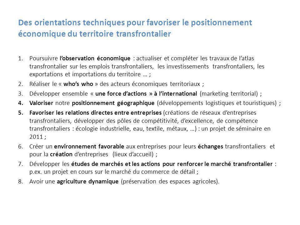 Des orientations techniques pour favoriser le positionnement économique du territoire transfrontalier 1.Poursuivre lobservation économique : actualise