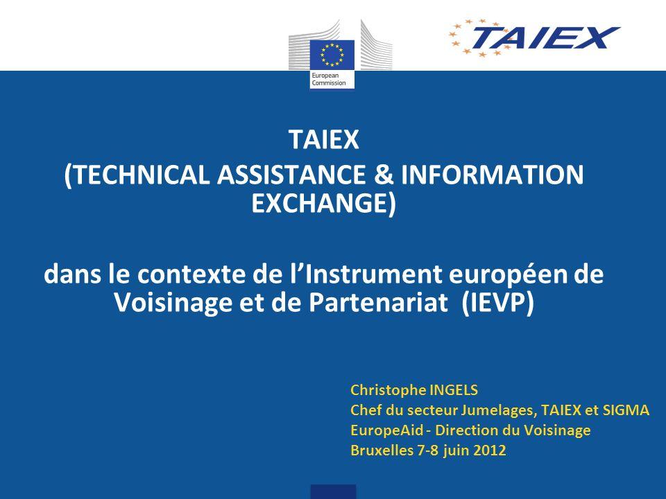 2 TAIEX – IEVP, cadre En 2006, extension progressive aux divers pays du voisinage de linstrument TAIEX tel que mis en œuvre dans le cadre de lélargissement : décision du conseil nº 2006/62/CE du 23.01.2006 Instrument mis à disposition dans le cadre du partenariat privilégié de lUE élargie (27 EM) avec les voisins de lUE (17 Pays) Extension sappuyant sur les Unités de gestion de programme (UGP/PAO) en charge des jumelagesdans les pays bénéficiaires 2011-2013: 7M par année