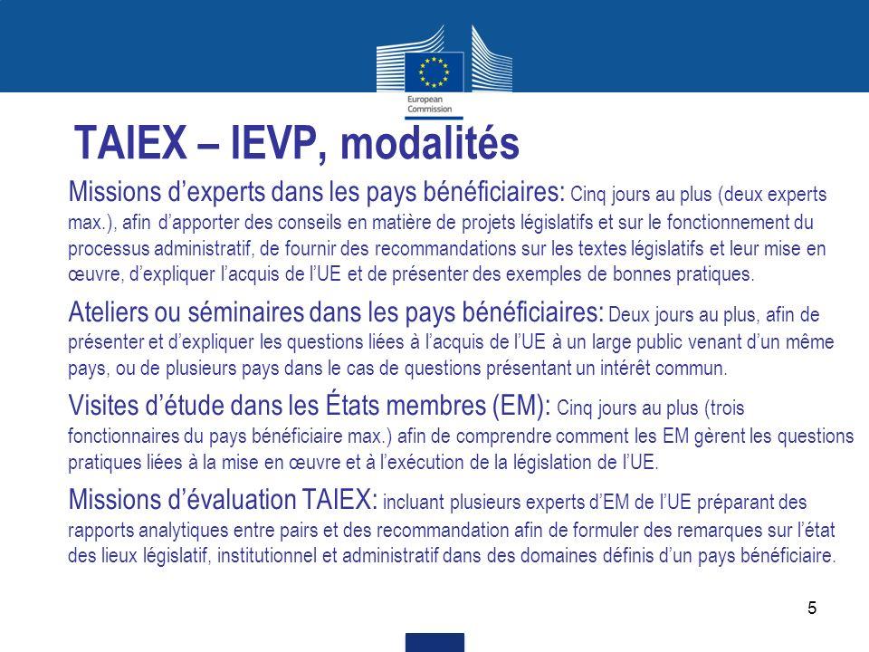 5 TAIEX – IEVP, modalités Missions dexperts dans les pays bénéficiaires: Cinq jours au plus (deux experts max.), afin dapporter des conseils en matièr