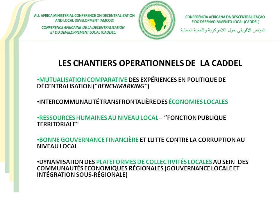 LES CHANTIERS OPERATIONNELS DE LA CADDEL MUTUALISATION COMPARATIVE DES EXPÉRIENCES EN POLITIQUE DE DÉCENTRALISATION (BENCHMARKING) INTERCOMMUNALITÉ TR