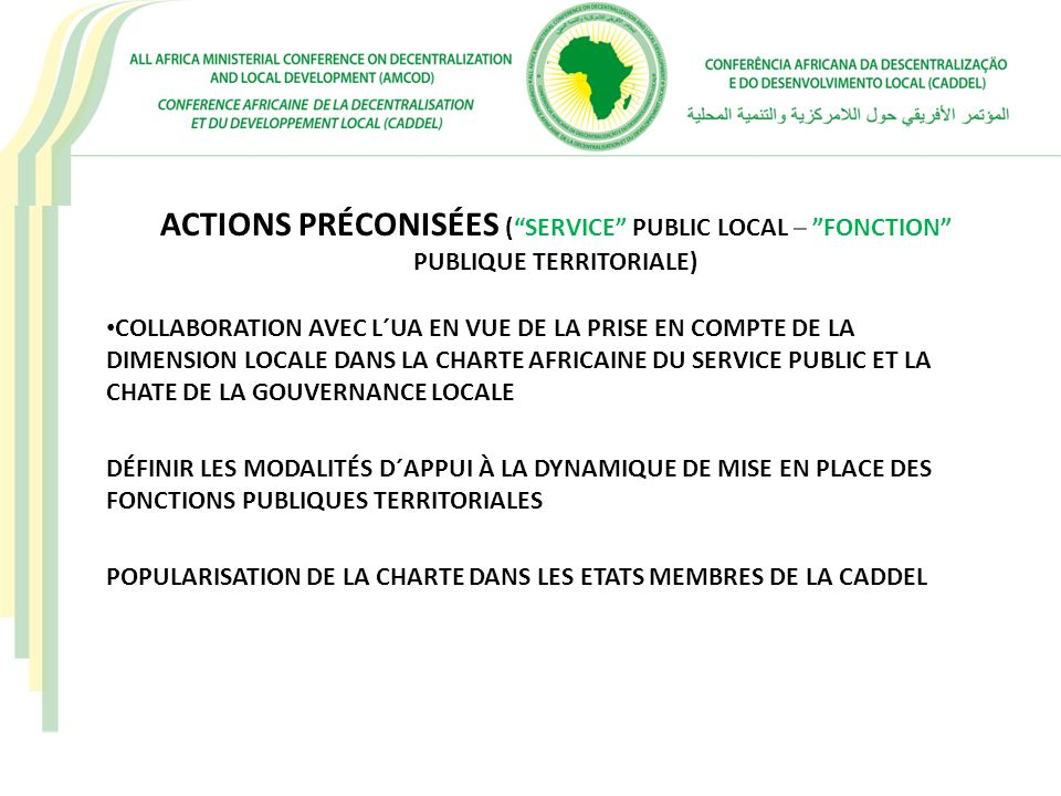 ACTIONS PRÉCONISÉES (SERVICE PUBLIC LOCAL – FONCTION PUBLIQUE TERRITORIALE) COLLABORATION AVEC L´UA EN VUE DE LA PRISE EN COMPTE DE LA DIMENSION LOCAL