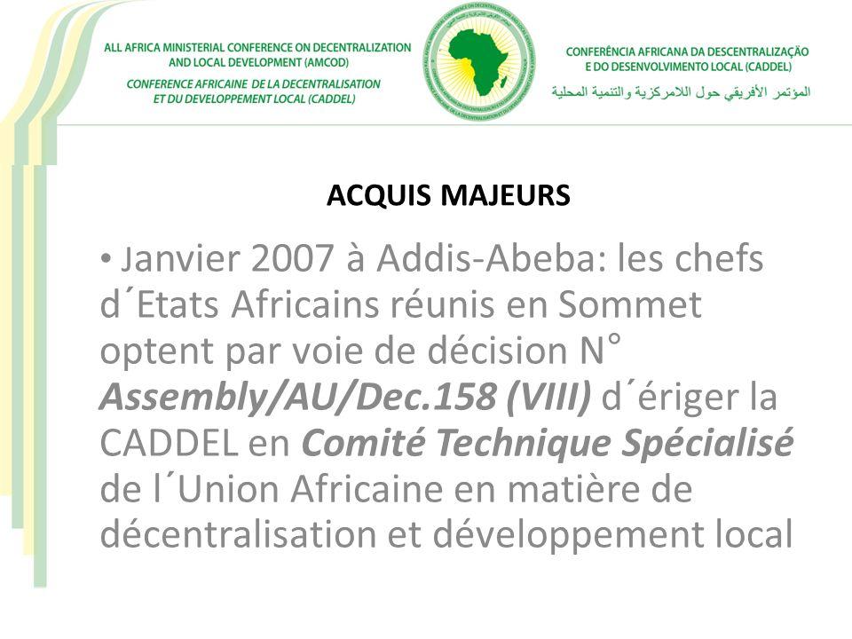 ACTIONS PRÉCONISÉES (SERVICE PUBLIC LOCAL – FONCTION PUBLIQUE TERRITORIALE) COLLABORATION AVEC L´UA EN VUE DE LA PRISE EN COMPTE DE LA DIMENSION LOCALE DANS LA CHARTE AFRICAINE DU SERVICE PUBLIC ET LA CHATE DE LA GOUVERNANCE LOCALE DÉFINIR LES MODALITÉS D´APPUI À LA DYNAMIQUE DE MISE EN PLACE DES FONCTIONS PUBLIQUES TERRITORIALES POPULARISATION DE LA CHARTE DANS LES ETATS MEMBRES DE LA CADDEL