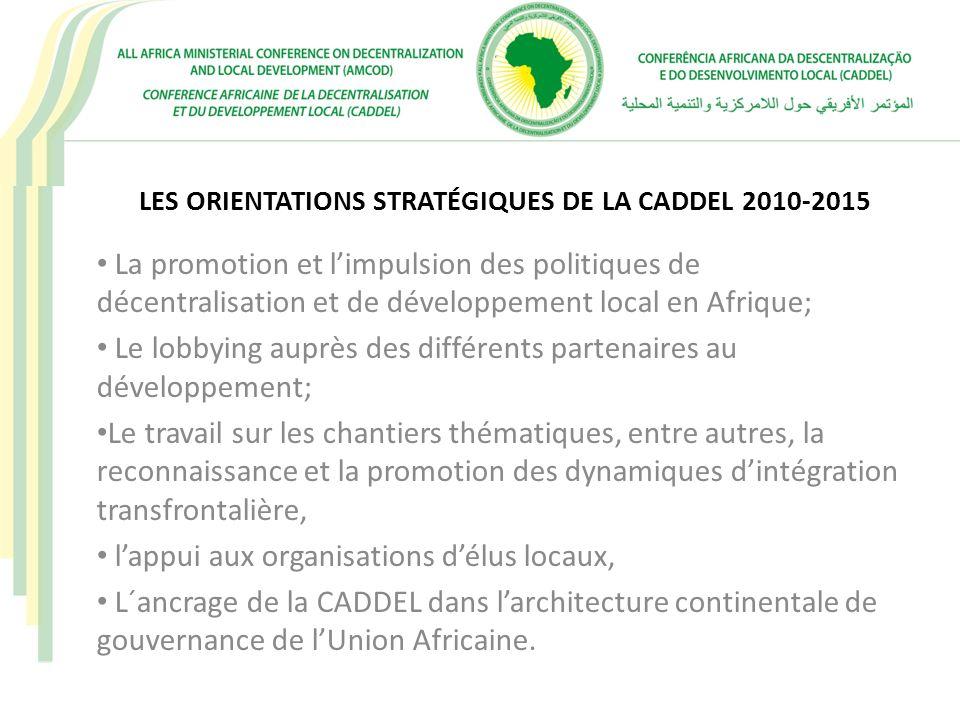 LES CHANTIERS OPERATIONNELS DE LA CADDEL MUTUALISATION COMPARATIVE DES EXPÉRIENCES EN POLITIQUE DE DÉCENTRALISATION (BENCHMARKING) INTERCOMMUNALITÉ TRANSFRONTALIÈRE DES ÉCONOMIES LOCALES RESSOURCES HUMAINES AU NIVEAU LOCAL – FONCTION PUBLIQUE TERRITORIALE BONNE GOUVERNANCE FINANCIÈRE ET LUTTE CONTRE LA CORRUPTION AU NIVEAU LOCAL DYNAMISATION DES PLATEFORMES DE COLLECTIVITÉS LOCALES AU SEIN DES COMMUNAUTÉS ECONOMIQUES RÉGIONALES (GOUVERNANCE LOCALE ET INTÉGRATION SOUS-RÉGIONALE)