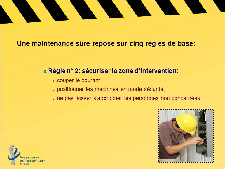 Règle n° 2: sécuriser la zone dintervention: couper le courant, positionner les machines en mode sécurité, ne pas laisser sapprocher les personnes non