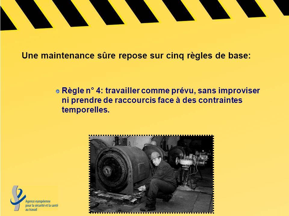 Règle n° 4: travailler comme prévu, sans improviser ni prendre de raccourcis face à des contraintes temporelles. Une maintenance sûre repose sur cinq