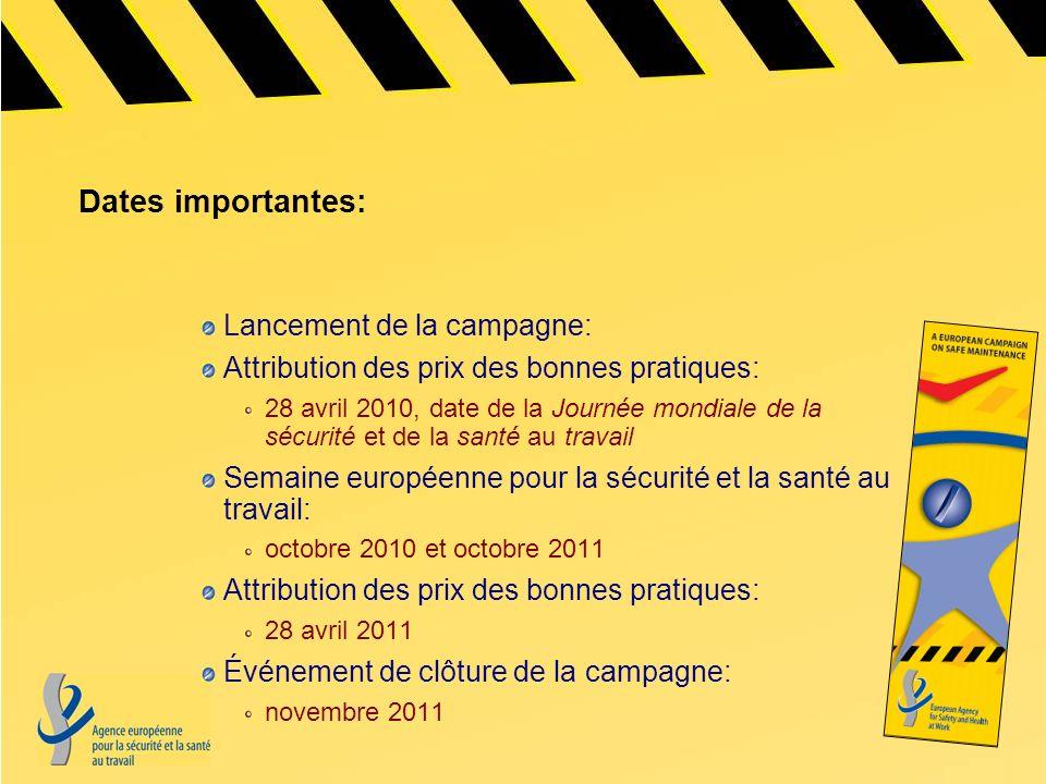 Dates importantes: Lancement de la campagne: Attribution des prix des bonnes pratiques: 28 avril 2010, date de la Journée mondiale de la sécurité et d