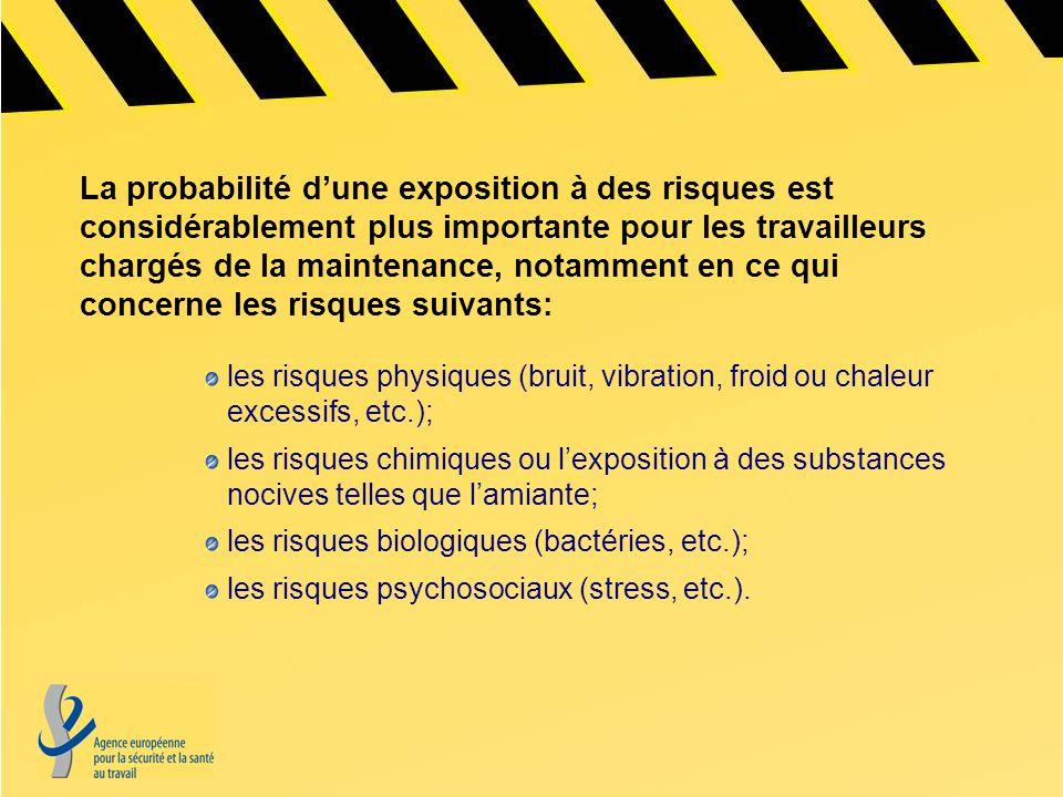La probabilité dune exposition à des risques est considérablement plus importante pour les travailleurs chargés de la maintenance, notamment en ce qui