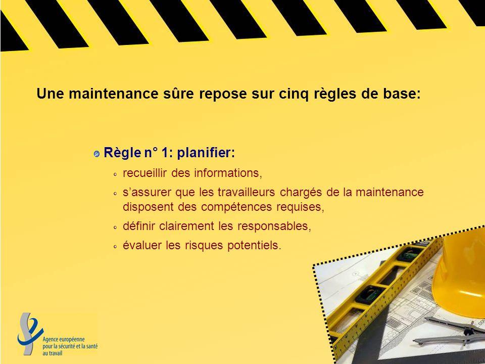 Une maintenance sûre repose sur cinq règles de base: Règle n° 1: planifier: recueillir des informations, sassurer que les travailleurs chargés de la m