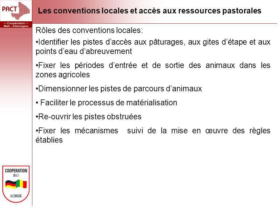 Les conventions locales et accès aux ressources pastorales Rôles des conventions locales: Identifier les pistes daccès aux pâturages, aux gites détape