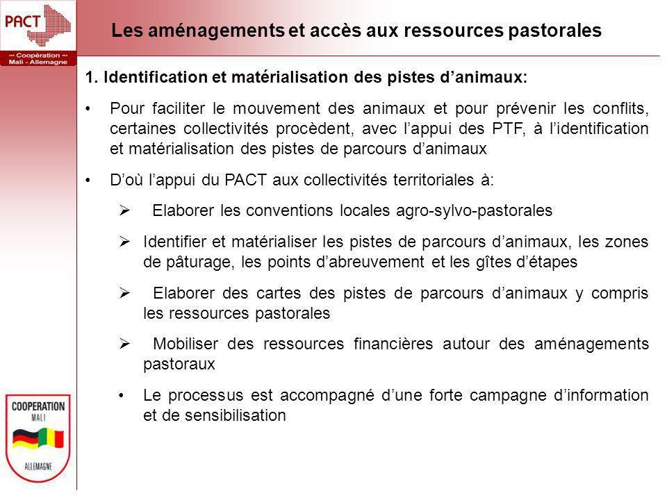 Les aménagements et accès aux ressources pastorales 1. Identification et matérialisation des pistes danimaux: Pour faciliter le mouvement des animaux