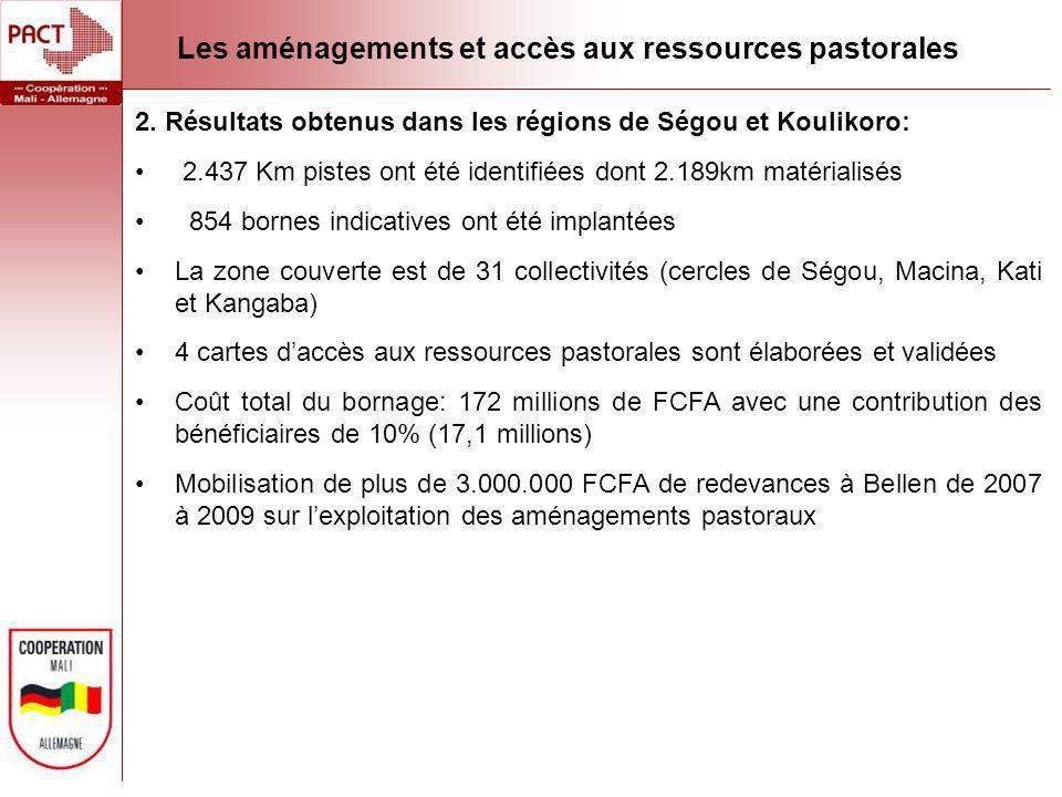 2. Résultats obtenus dans les régions de Ségou et Koulikoro: 2.437 Km pistes ont été identifiées dont 2.189km matérialisés 854 bornes indicatives ont