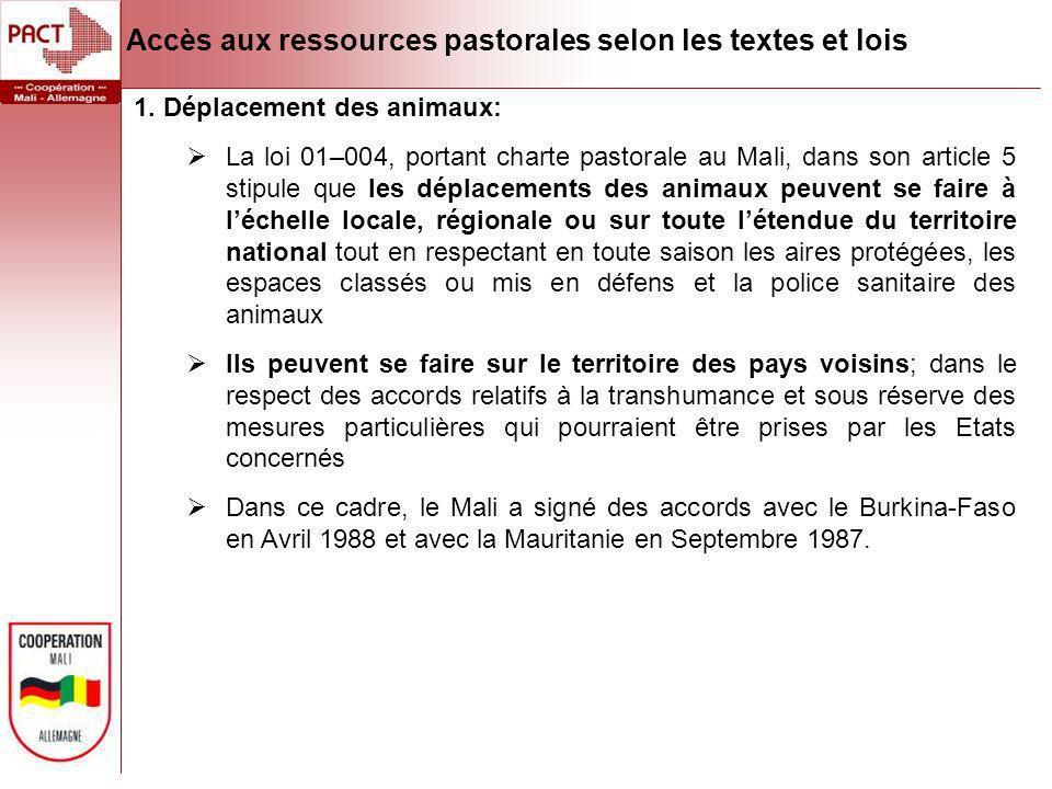 1. Déplacement des animaux: La loi 01–004, portant charte pastorale au Mali, dans son article 5 stipule que les déplacements des animaux peuvent se fa
