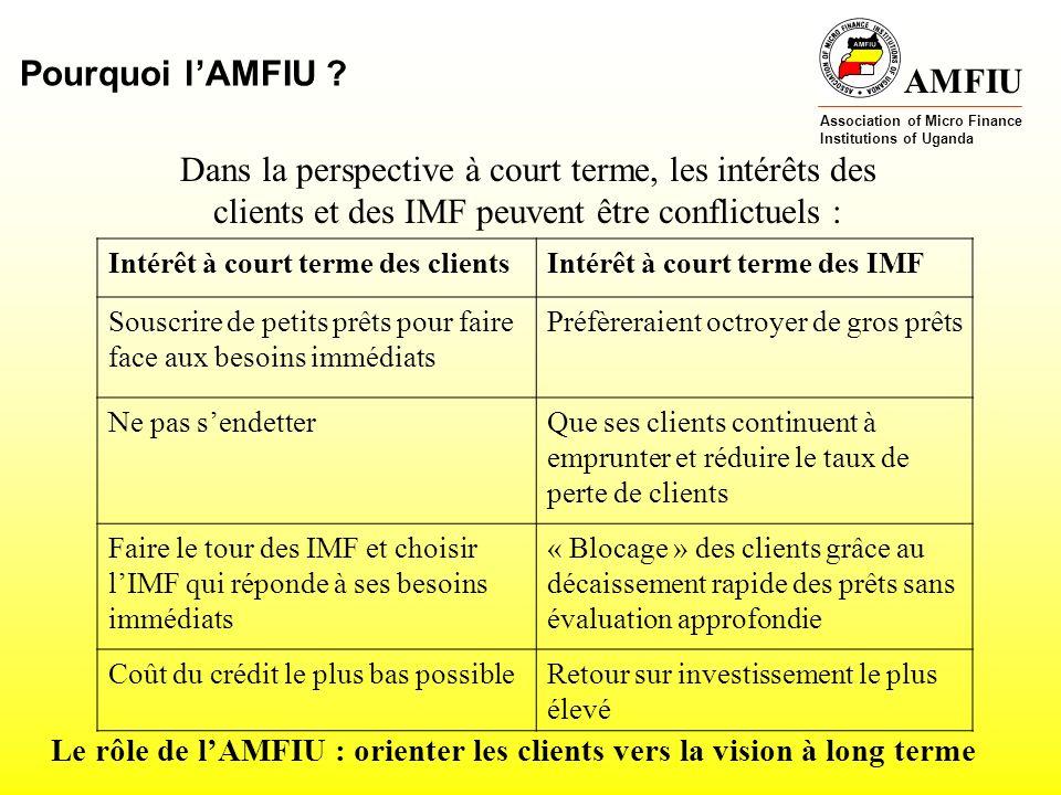 AMFIU Association of Micro Finance Institutions of Uganda MERCI de votre attention Zainabu Asiimwe, Consumer Affairs Specialist AMFIU (zaina@amfiu.org.ug)