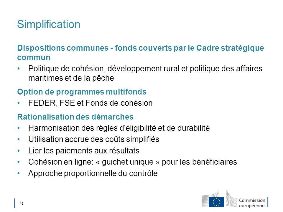18 Simplification Dispositions communes - fonds couverts par le Cadre stratégique commun Politique de cohésion, développement rural et politique des a