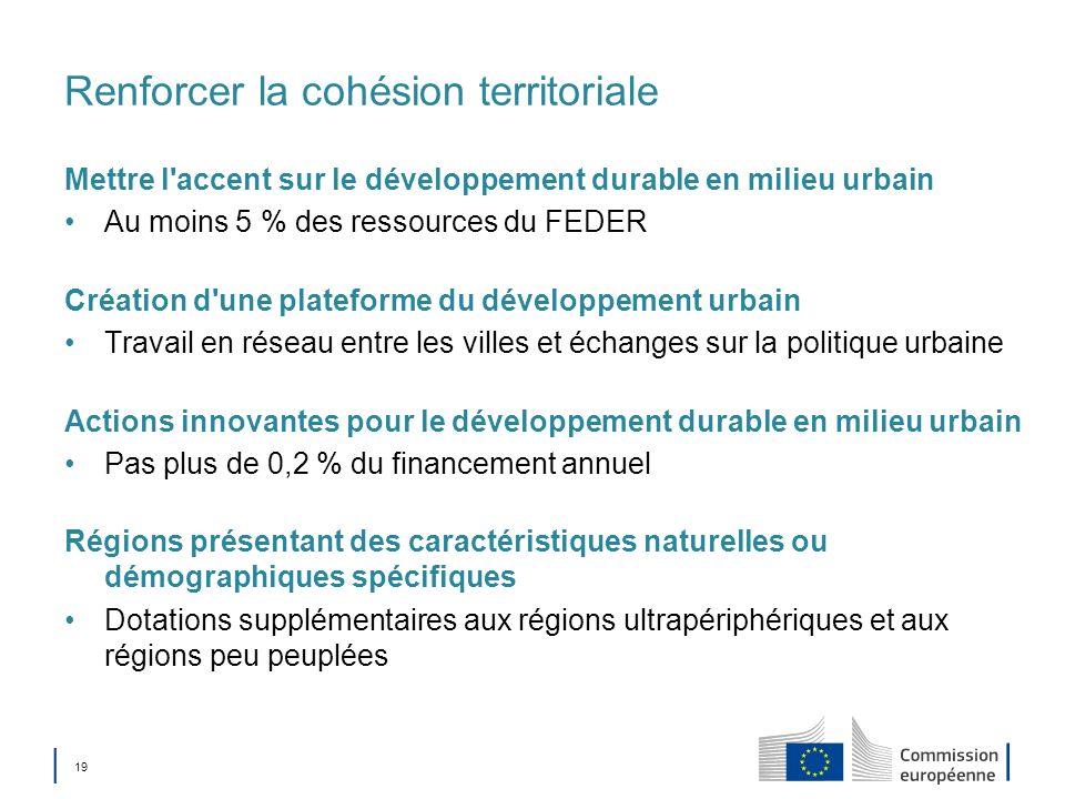 19 Renforcer la cohésion territoriale Mettre l'accent sur le développement durable en milieu urbain Au moins 5 % des ressources du FEDER Création d'un