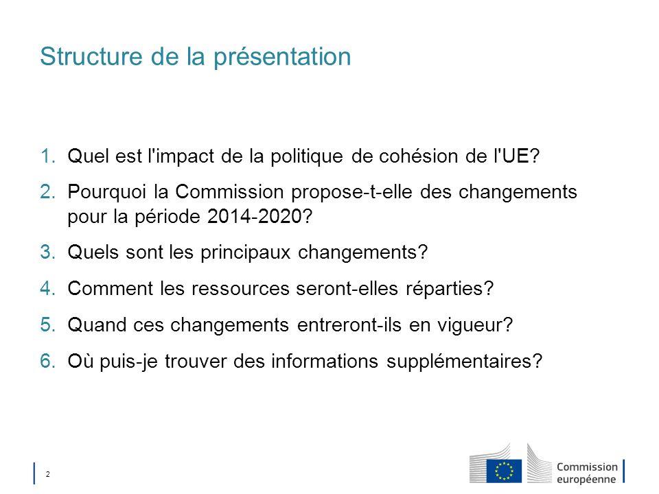 2 Structure de la présentation 1.Quel est l'impact de la politique de cohésion de l'UE? 2.Pourquoi la Commission propose-t-elle des changements pour l