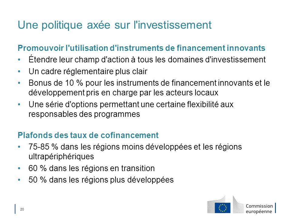 20 Une politique axée sur l'investissement Promouvoir l'utilisation d'instruments de financement innovants Étendre leur champ d'action à tous les doma