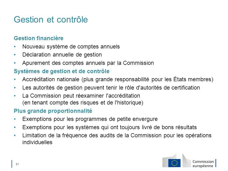 21 Gestion et contrôle Gestion financière Nouveau système de comptes annuels Déclaration annuelle de gestion Apurement des comptes annuels par la Comm