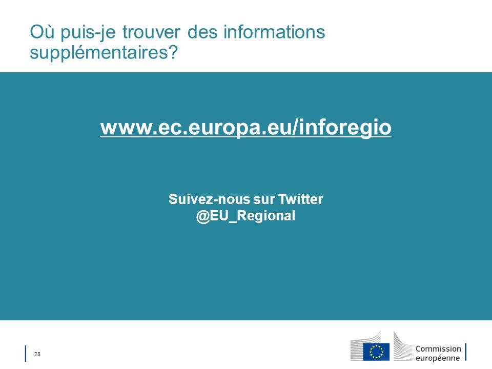 28 Où puis-je trouver des informations supplémentaires? Suivez-nous sur Twitter @EU_Regional www.ec.europa.eu/inforegio