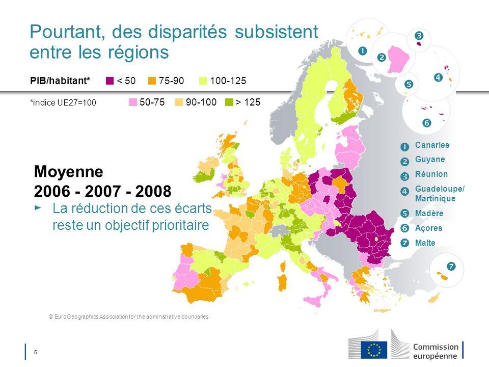 6 Pourtant, des disparités subsistent entre les régions Moyenne 2006 - 2007 - 2008 La réduction de ces écarts reste un objectif prioritaire PIB/habita