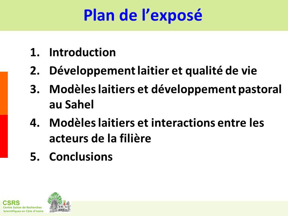 Plan de lexposé 1.Introduction 2.Développement laitier et qualité de vie 3.Modèles laitiers et développement pastoral au Sahel 4.Modèles laitiers et interactions entre les acteurs de la filière 5.Conclusions