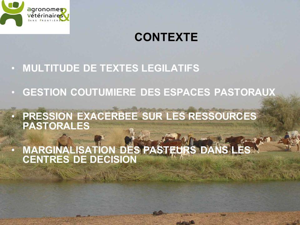 CONTEXTE MULTITUDE DE TEXTES LEGILATIFS GESTION COUTUMIERE DES ESPACES PASTORAUX PRESSION EXACERBEE SUR LES RESSOURCES PASTORALES MARGINALISATION DES PASTEURS DANS LES CENTRES DE DECISION