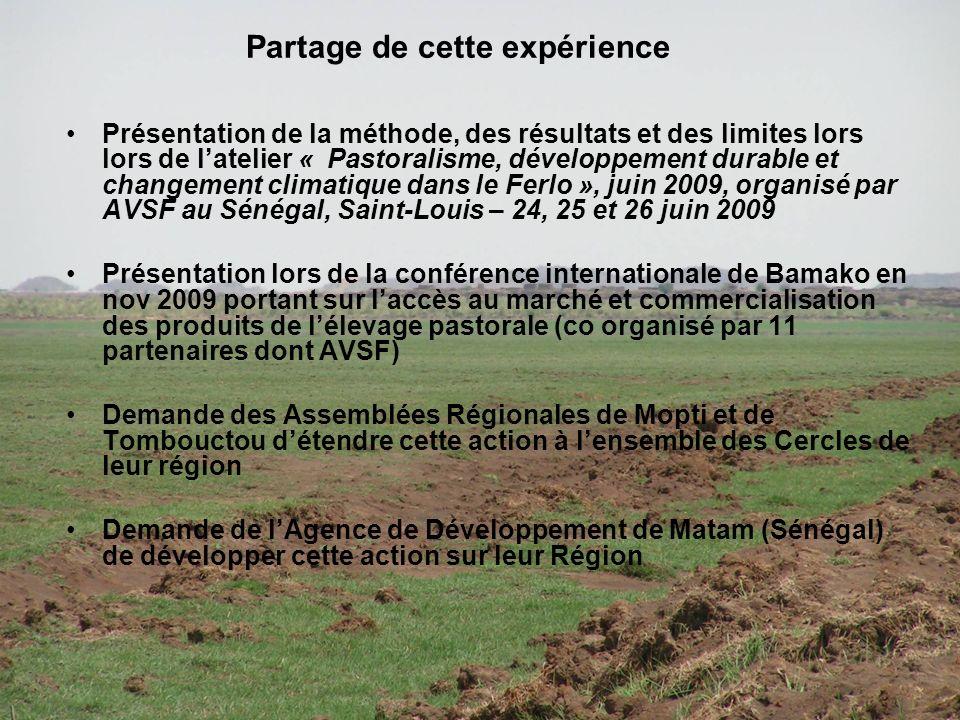 Présentation de la méthode, des résultats et des limites lors lors de latelier « Pastoralisme, développement durable et changement climatique dans le Ferlo », juin 2009, organisé par AVSF au Sénégal, Saint-Louis – 24, 25 et 26 juin 2009 Présentation lors de la conférence internationale de Bamako en nov 2009 portant sur laccès au marché et commercialisation des produits de lélevage pastorale (co organisé par 11 partenaires dont AVSF) Demande des Assemblées Régionales de Mopti et de Tombouctou détendre cette action à lensemble des Cercles de leur région Demande de lAgence de Développement de Matam (Sénégal) de développer cette action sur leur Région Partage de cette expérience