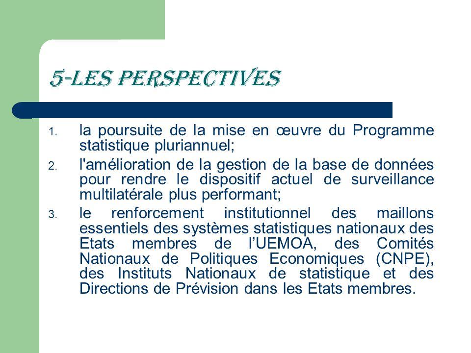 5-Les perspectives 1. la poursuite de la mise en œuvre du Programme statistique pluriannuel; 2. l'amélioration de la gestion de la base de données pou