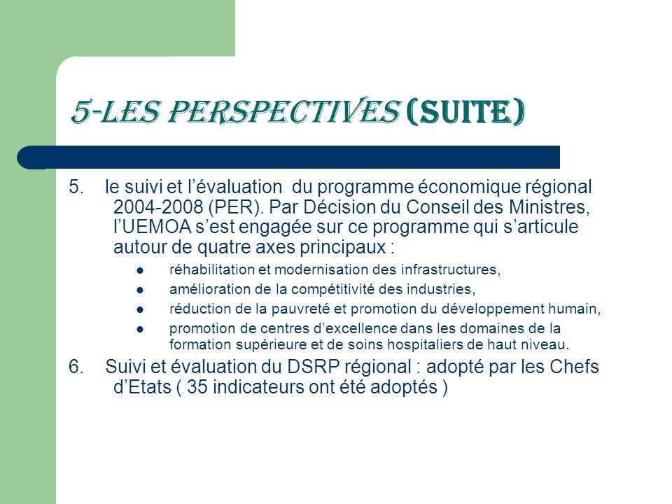 5-Les perspectives (suite) 5. le suivi et lévaluation du programme économique régional 2004-2008 (PER). Par Décision du Conseil des Ministres, lUEMOA
