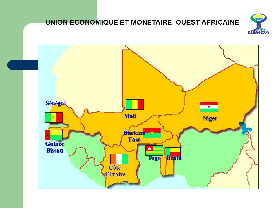 UNION ECONOMIQUE ET MONETAIRE OUEST AFRICAINE Togo Bénin Burkina Faso Sénégal Mali Guinée Bissau Côte dIvoire Niger