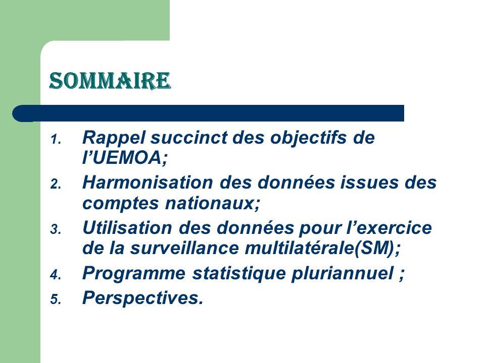 SOMMAIRE 1. Rappel succinct des objectifs de lUEMOA; 2. Harmonisation des données issues des comptes nationaux; 3. Utilisation des données pour lexerc