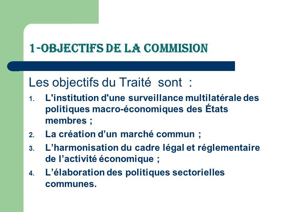 1-Objectifs de la Commision Les objectifs du Traité sont : 1. L'institution d'une surveillance multilatérale des politiques macro-économiques des État