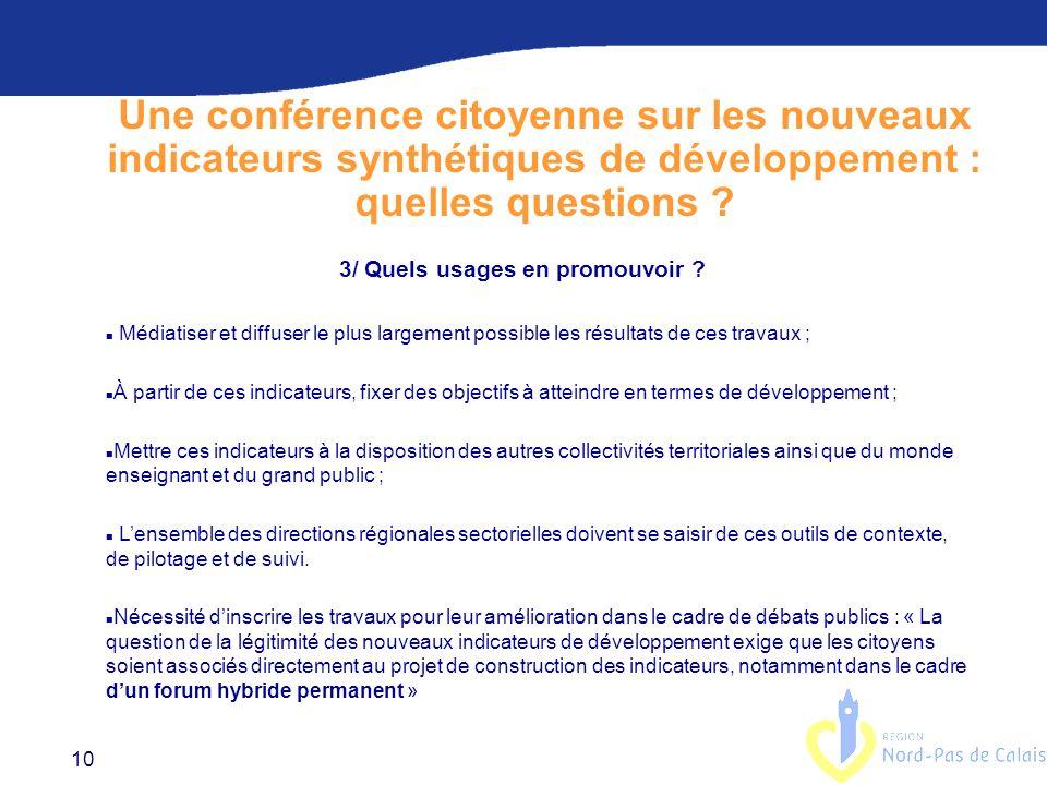 10 Une conférence citoyenne sur les nouveaux indicateurs synthétiques de développement : quelles questions .